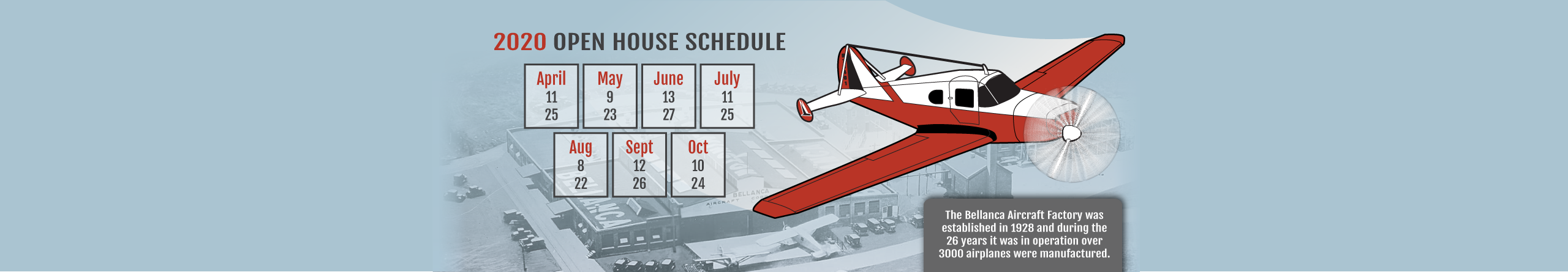 Bellanca Museum 2020 Schedule - New Castle, Delaware